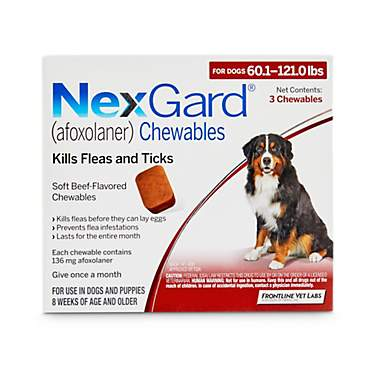 NexGard Chewables - Red for Dogs 60.1 to 121 lbs.