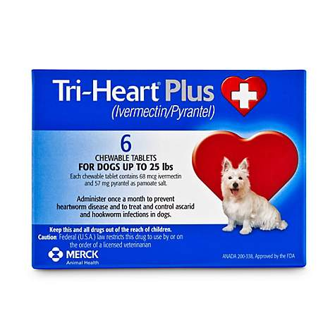 Tri-Heart Plus Chewable Tablets for Dogs 1 to 25 lbs , 6 Pack