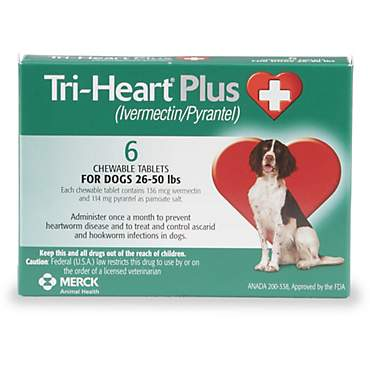 Tri-Heart Plus Chewable Tablets for Dogs 26 to 50 lbs.