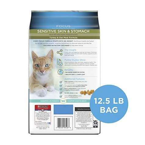 Purina Pro Plan Probiotics, Sensitive Skin & Stomach, Natural Focus Turkey  & Oat Meal Dry Cat Food, 12 5 lbs