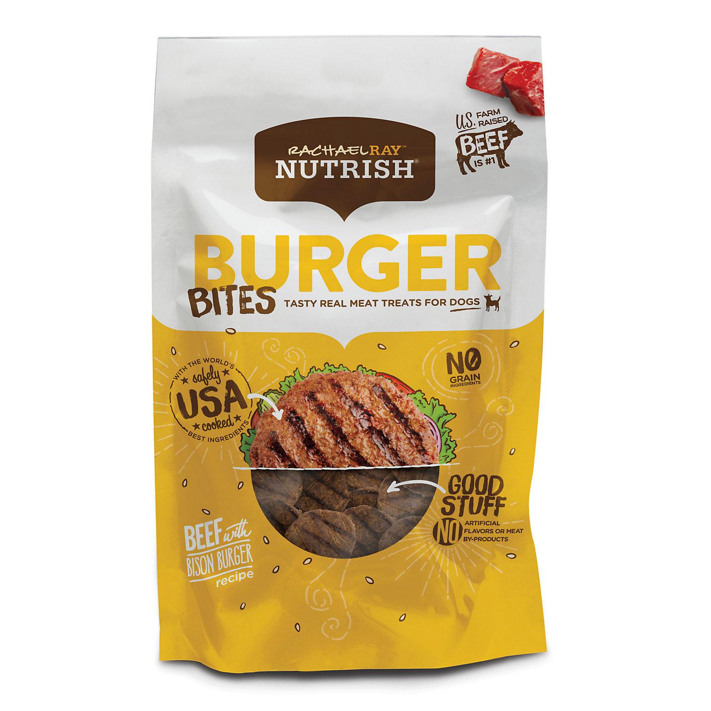 Image of Rachael Ray Nutrish Burger Bites Grain Free Beef Burger with Bison Recipe Dog Treats, 3 oz.
