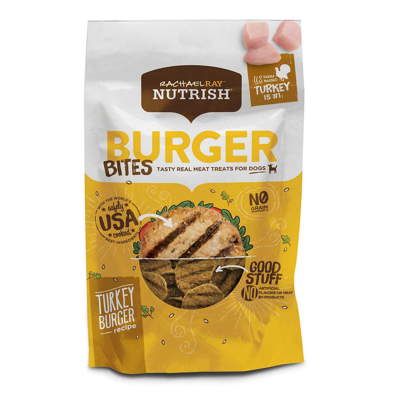 Image of Rachael Ray Nutrish Burger Bites Grain Free Turkey Burger Recipe Dog Treats