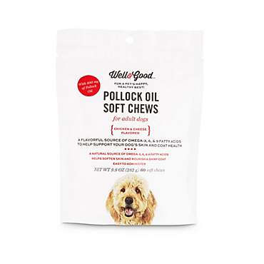 Well & Good Pollock Oil Adult Dog Soft Chews with 600 Mg of Pollock Oil