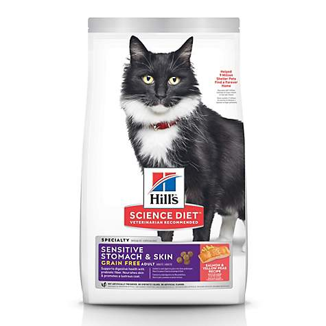 Hill's Science Diet Adult Sensitive Stomach & Skin Grain Free Salmon & Yellow Pea Recipe Dry Cat Food, 13 lbs.