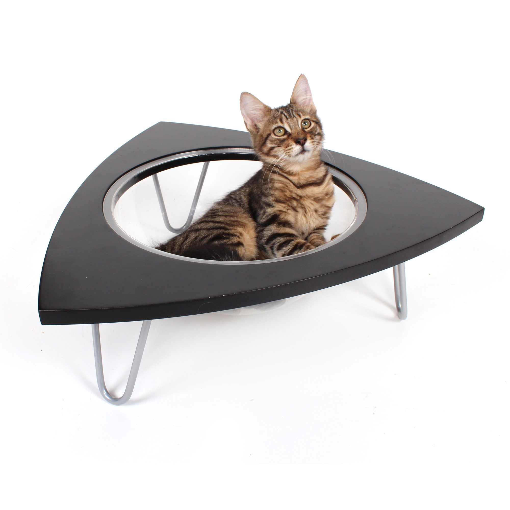 """Hauspanther Collection By Primetime Black Tripod For Cat, 20"""" L X 20"""" W X 6.5"""" H, Small, Black / Transparent"""