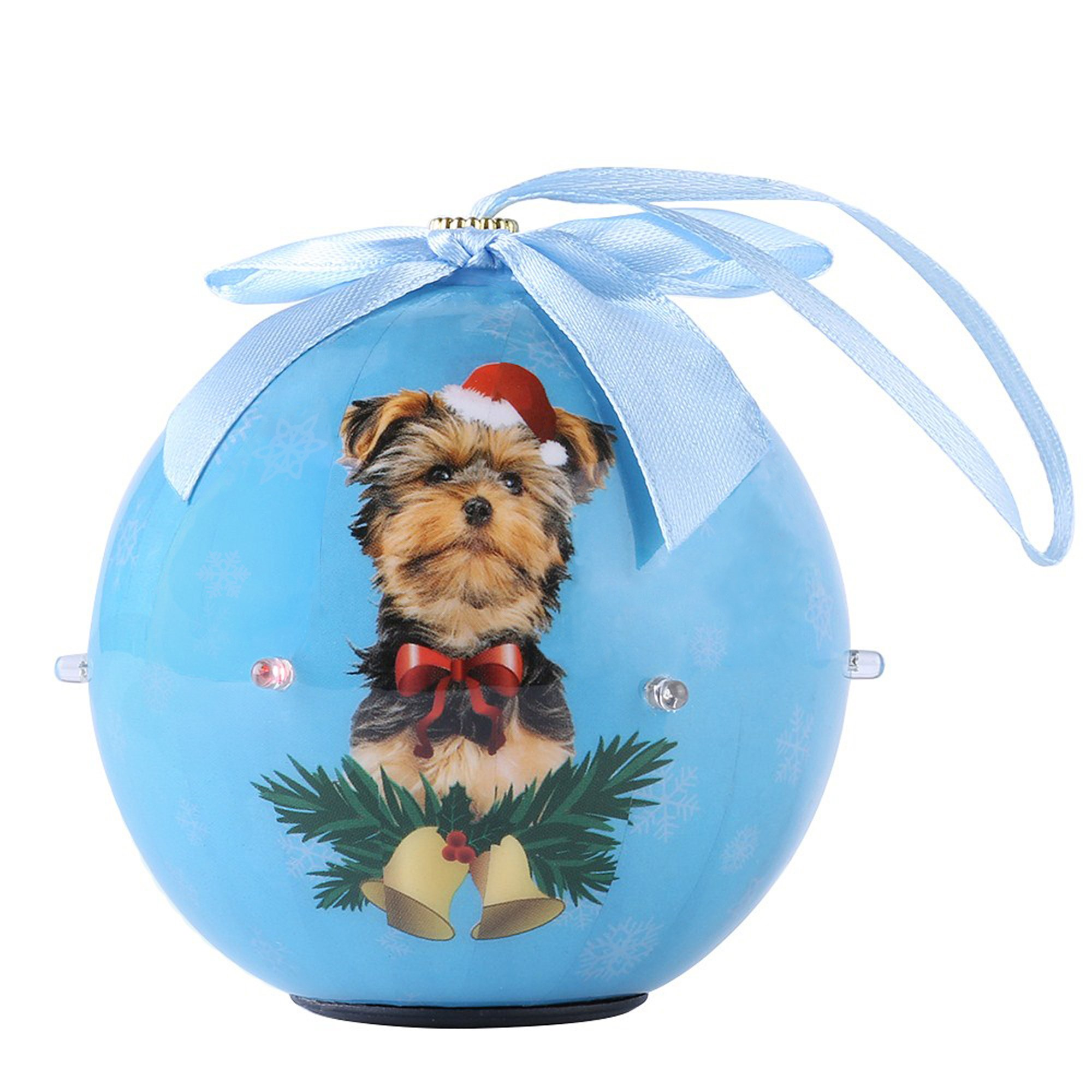 Cuecuepet Yorkie Dog Collection Twinkling Lights Christmas Ball