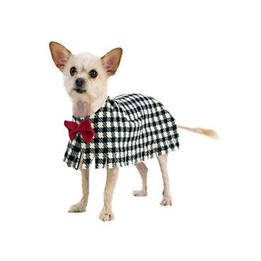 Pooch-O Fleece Houndstooth with Bow Dog Poncho