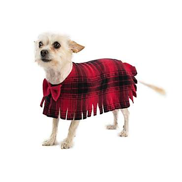Pooch-O Fleece Red Plaid with Bow Dog Poncho