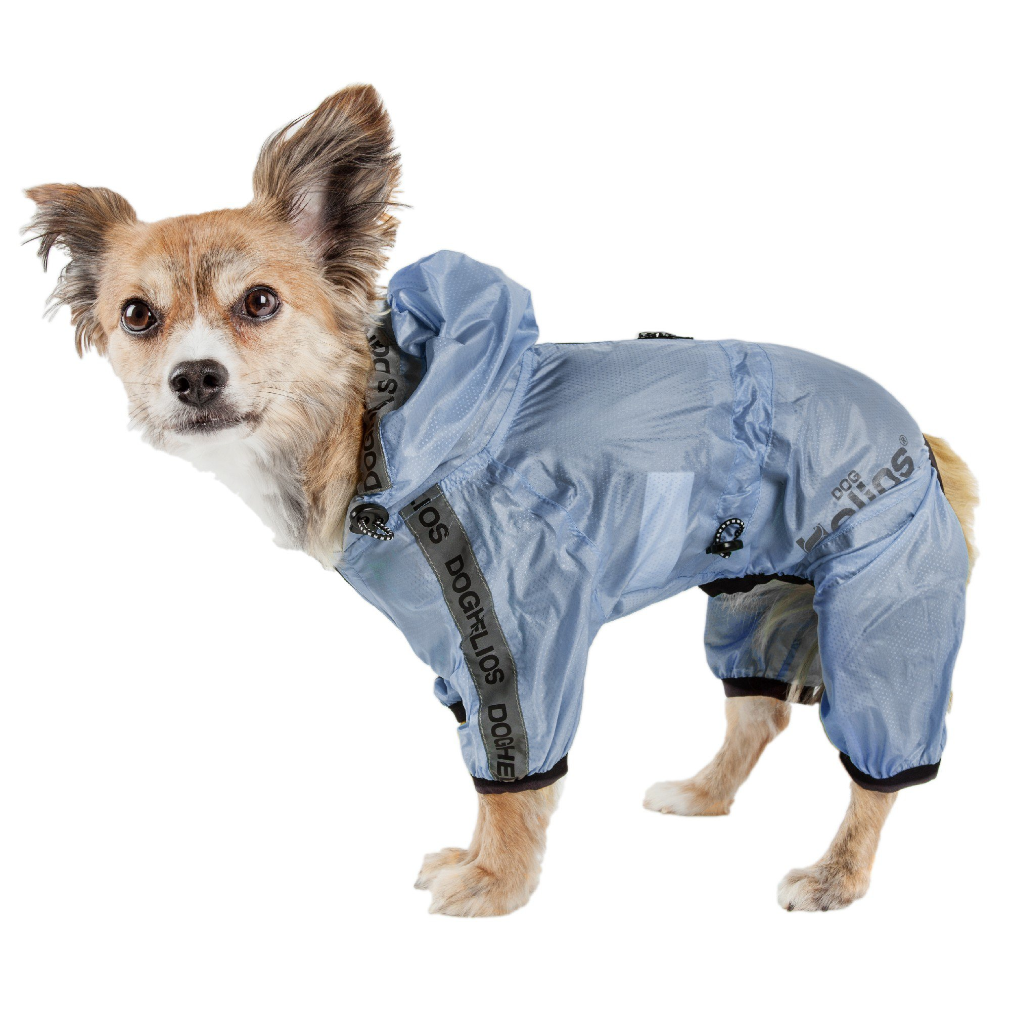 Dog Helios Torrential Shield Waterproof Multi-Adjustable Blue Dog Windbreaker Raincoat, Medium