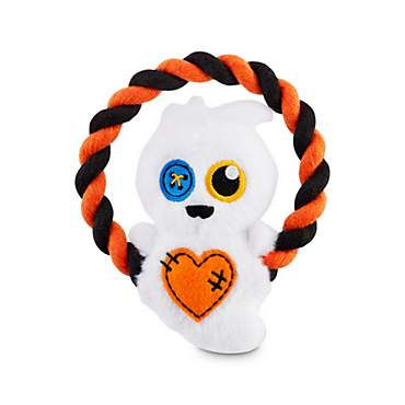 Bootique Don't Ghost Me Plush Dog Toy with Rope Handle