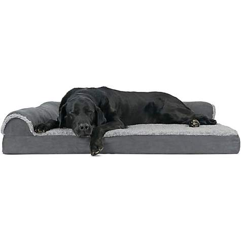 Super Furhaven Two Tone Faux Fur Suede Deluxe Chaise Lounge Orthopedic Sofa Dog Bed Stone Gray 44 L X 35 W Machost Co Dining Chair Design Ideas Machostcouk