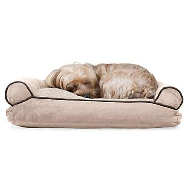 FurHaven Faux Fleece & Chenille Soft Woven Pillow Sofa Dog Bed Cream