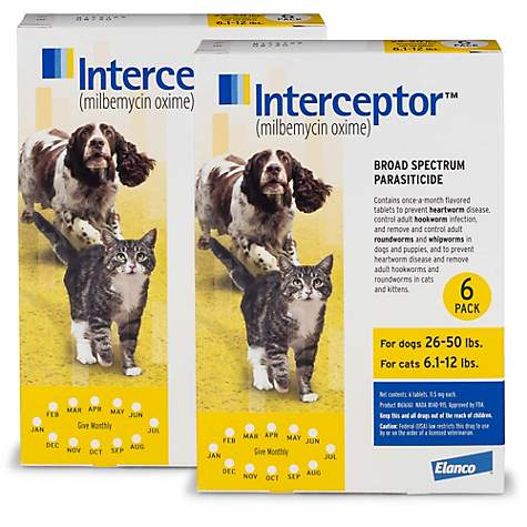 Interceptor Flavor Tabs for Dogs 26 to 50 lbs  and Cats 6 1 to 12 lbs , 12  Pack