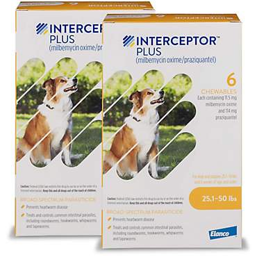 Interceptor Plus Chewables for Dogs 25 to 50 lbs.