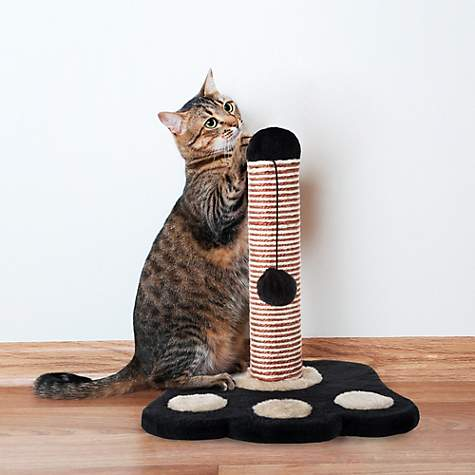 PETMAKER Cat Scratching Post with Sisal Rope, Paw Shaped Base and Hanging  Toy Ball, 13