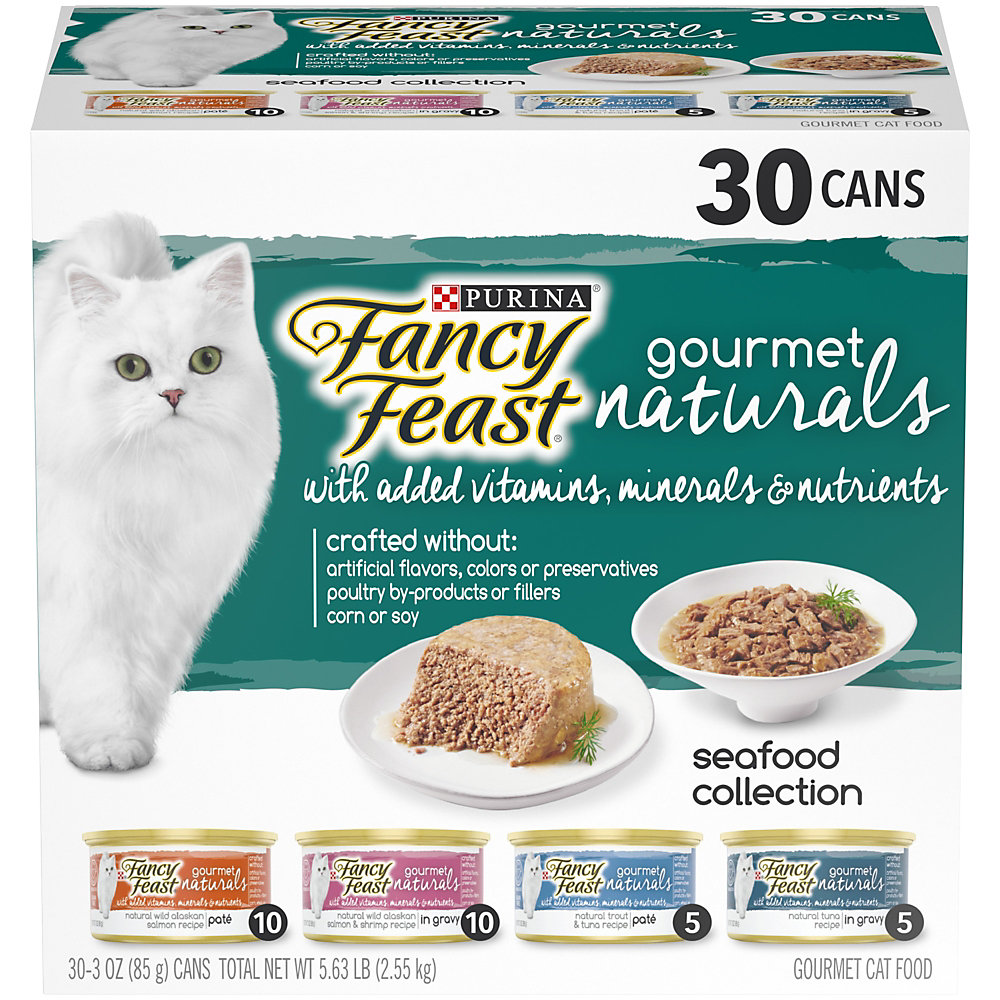 Purina Fancy Feast Natural Gourmet Naturals Seafood Collection Wet Cat Food Variety Pack, 3 oz., Count of 30