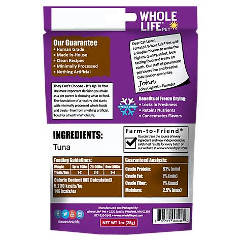 Whole Life Pet Just One Ingredient Pure Tuna Fillet Cat Treats, 1 oz