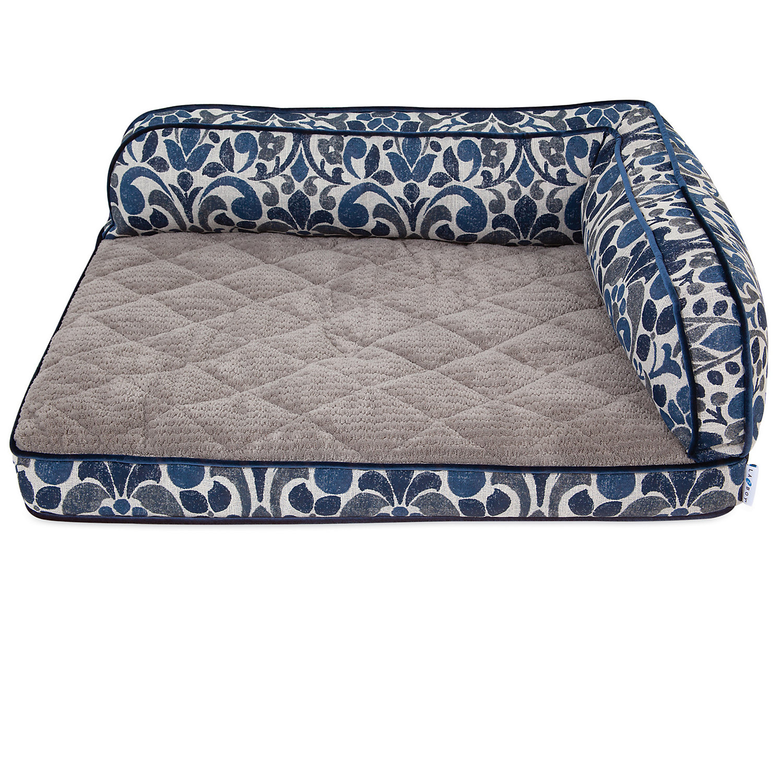 """La Z Boy Sadie Blue Jacquard Sofa Dog Bed, 38""""l X 29"""" W, X Large"""