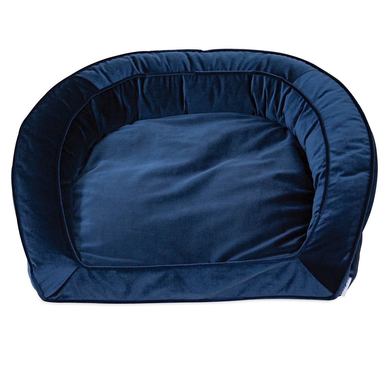 "La Z Boy Tucker Blue Velvet Sofa Dog Bed, 33"" L X 30"" W, Large"