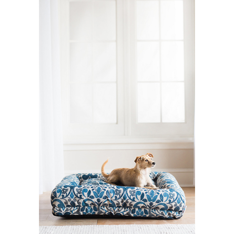 "La Z Boy Rosie Lounger Blue Jacquard Dog Bed, 35"" L X 27"" W, Large"