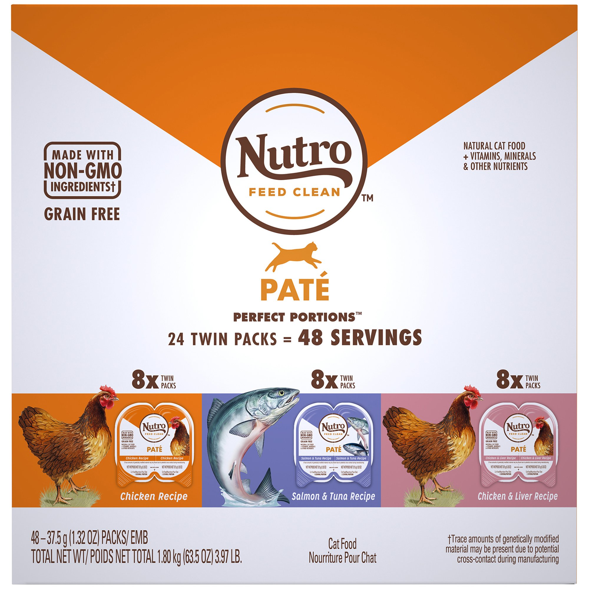Soft Cat Food >> Nutro Perfect Portions Grain Free Natural Pate Recipes Variety Pack Adult Wet Cat Food 3 97 Lbs Count Of 24 Petco