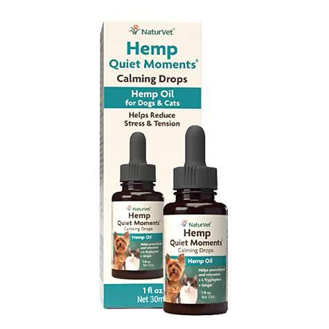 Naturvet Hemp Quiet Moments Calming Drops Hemp Oil for Dogs & Cats, 1 fl   oz