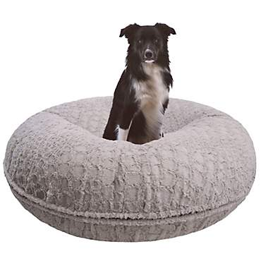 Bessie and Barnie Signature Serenity Grey Luxury Extra Plush Faux Fur Bagel Pet Bed