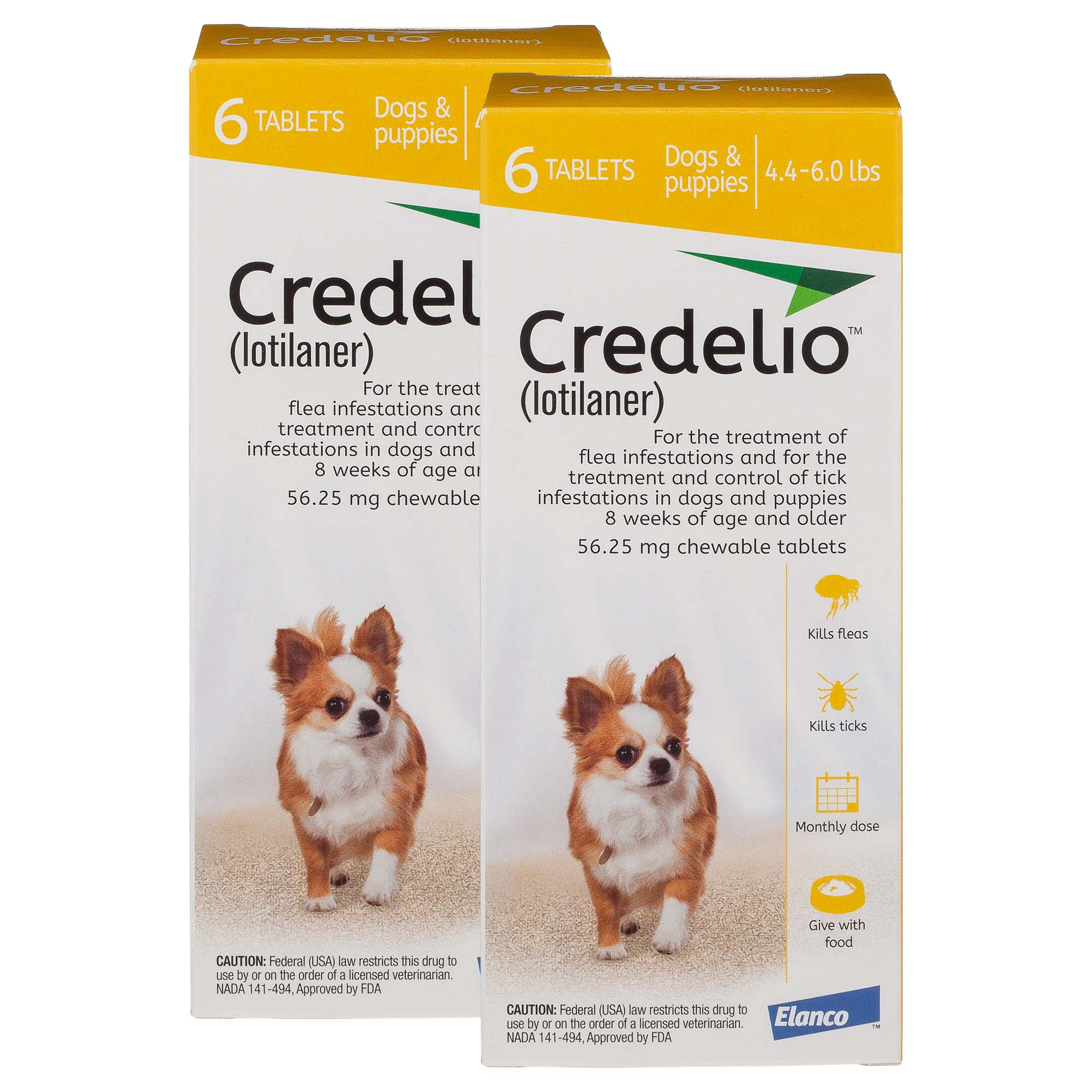 Credelio Chewable Tablets for Dogs 4 4-6 lbs  - Yellow | Petco