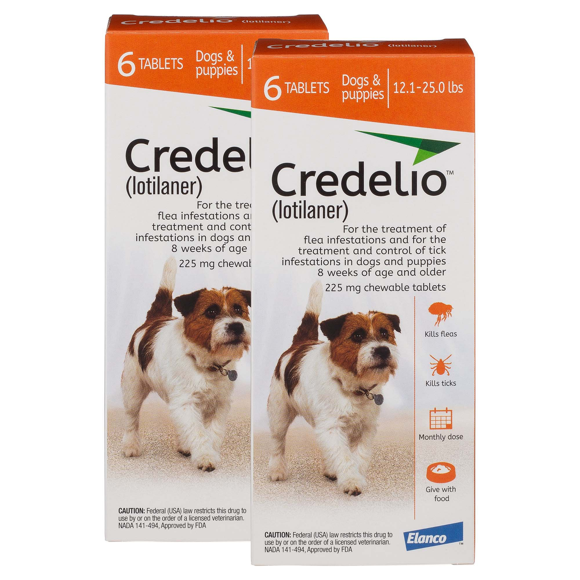 Credelio Chewable Tablets for Dogs 12 1-25 lbs  - Orange, 6 Pack | Petco