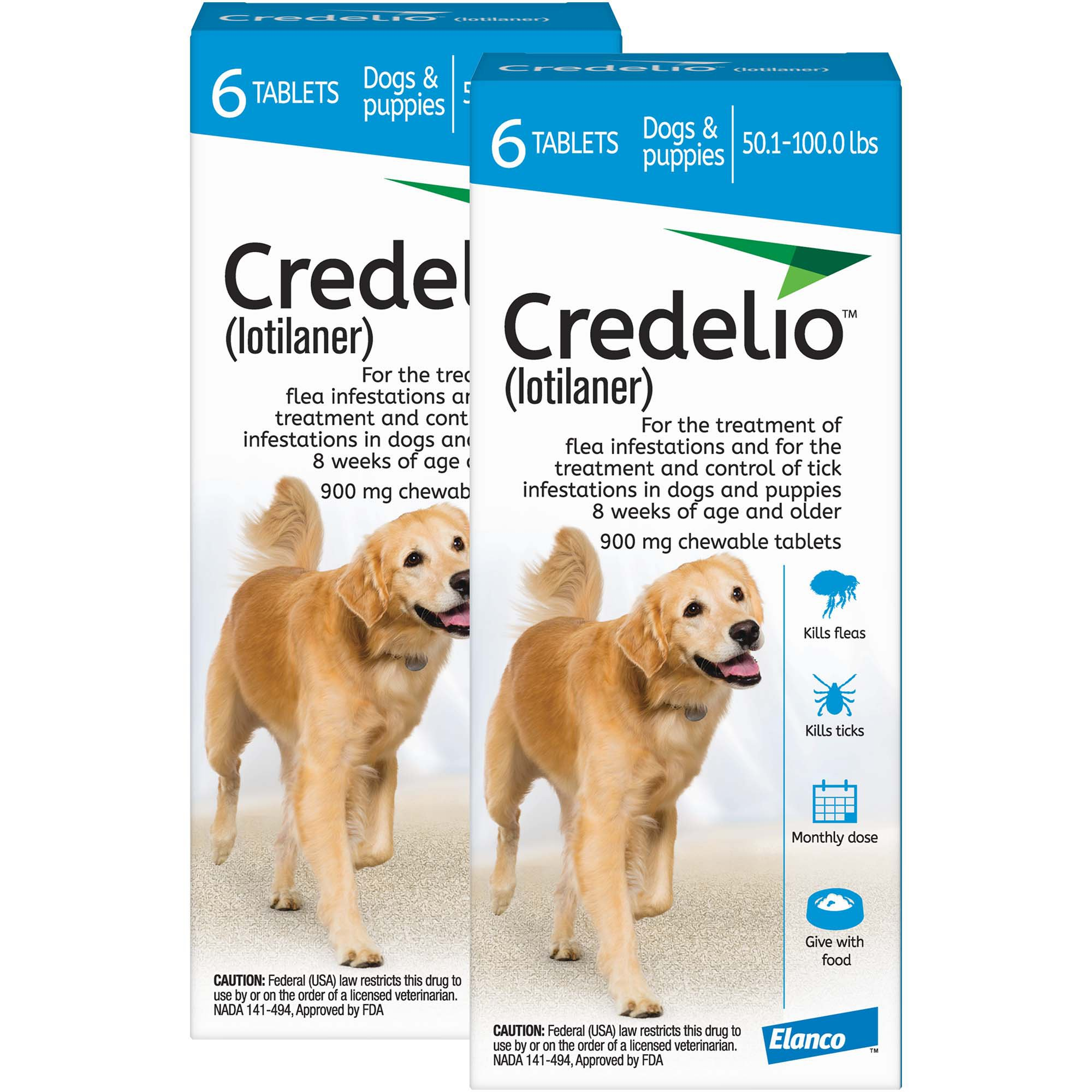 Credelio Chewable Tablets for Dogs 50 1-100 lbs  - Blue | Petco