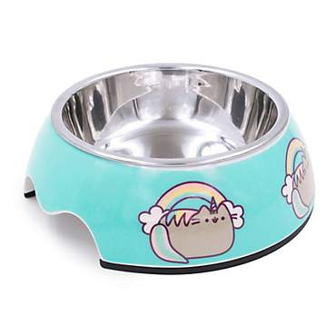 Pushee Unicorn Stainless Steel Blue Bowl for Cats