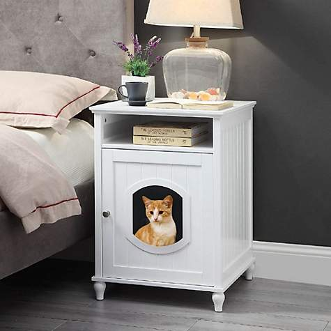 Unipaws White Wooden Litter Box Cat Furniture 19 1 L X 20 87 W X 26 77 H
