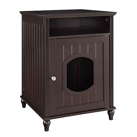Unipaws Espresso Wooden Litter Box Cat Furniture Petco