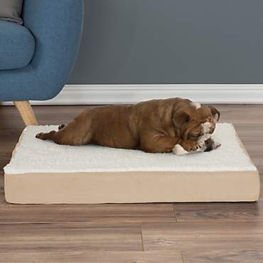 PETMAKER Orthopedic Tan Sherpa Top Pet Bed with Memory Foam and Removable Cover