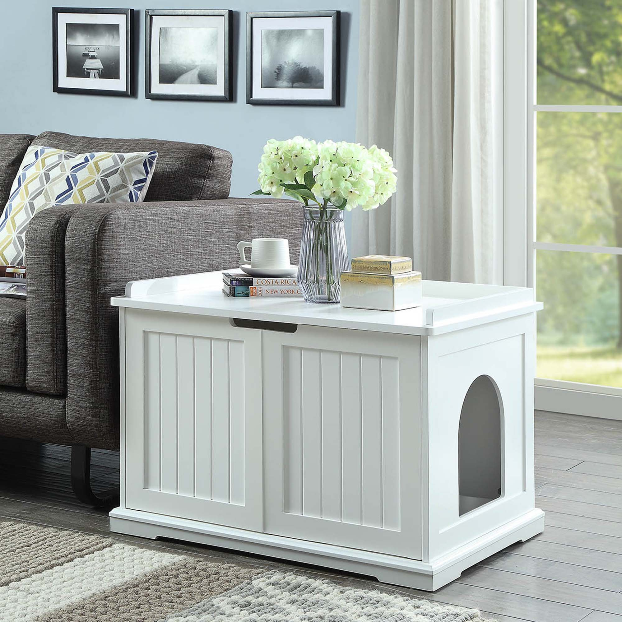 Awe Inspiring Unipaws Cat Washroom Storage Bench White 29 L X 21 W X 20 H Petco Dailytribune Chair Design For Home Dailytribuneorg