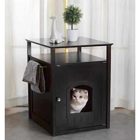 Zoovilla Cat Washroom Litter Box Cover / Night Stand Black Pet House   Petco