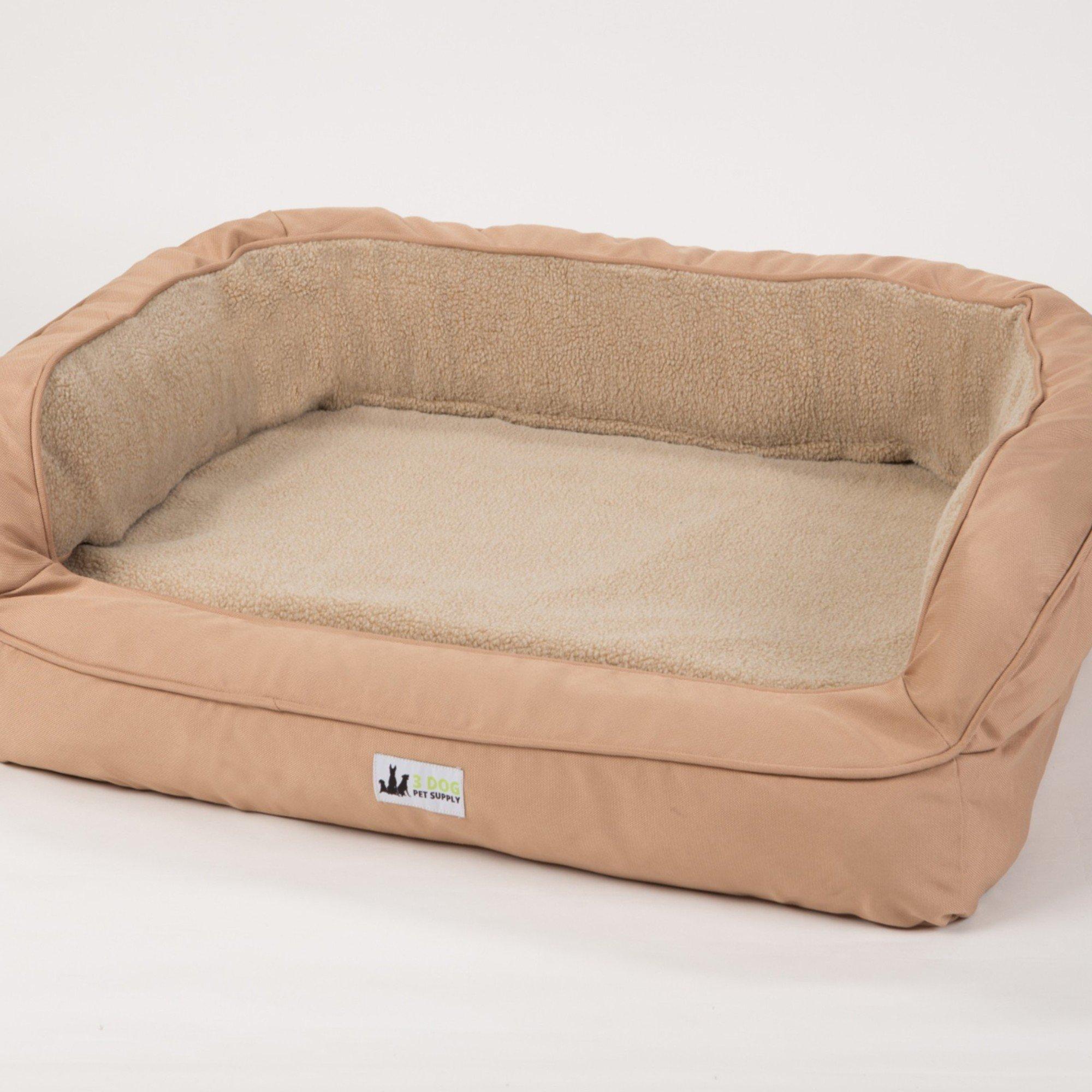 "3 Dog EZ Wash Fleece Bolster Tan Dog Bed, 48"" L X 31"" W X 10"" H, Large"