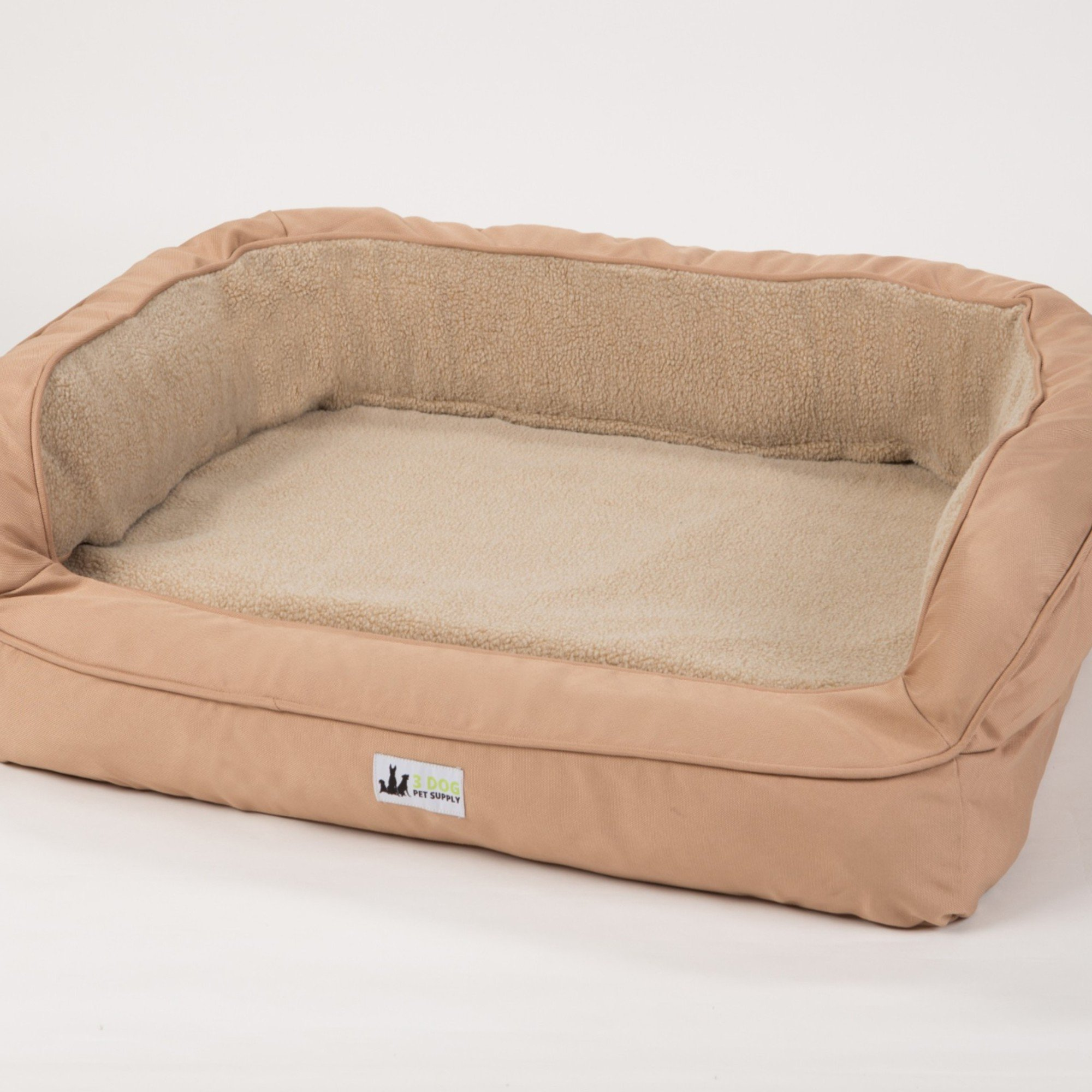 "3 Dog EZ Wash Fleece Bolster Tan Dog Bed, 32"" L X 21"" W X 9"" H, Small"
