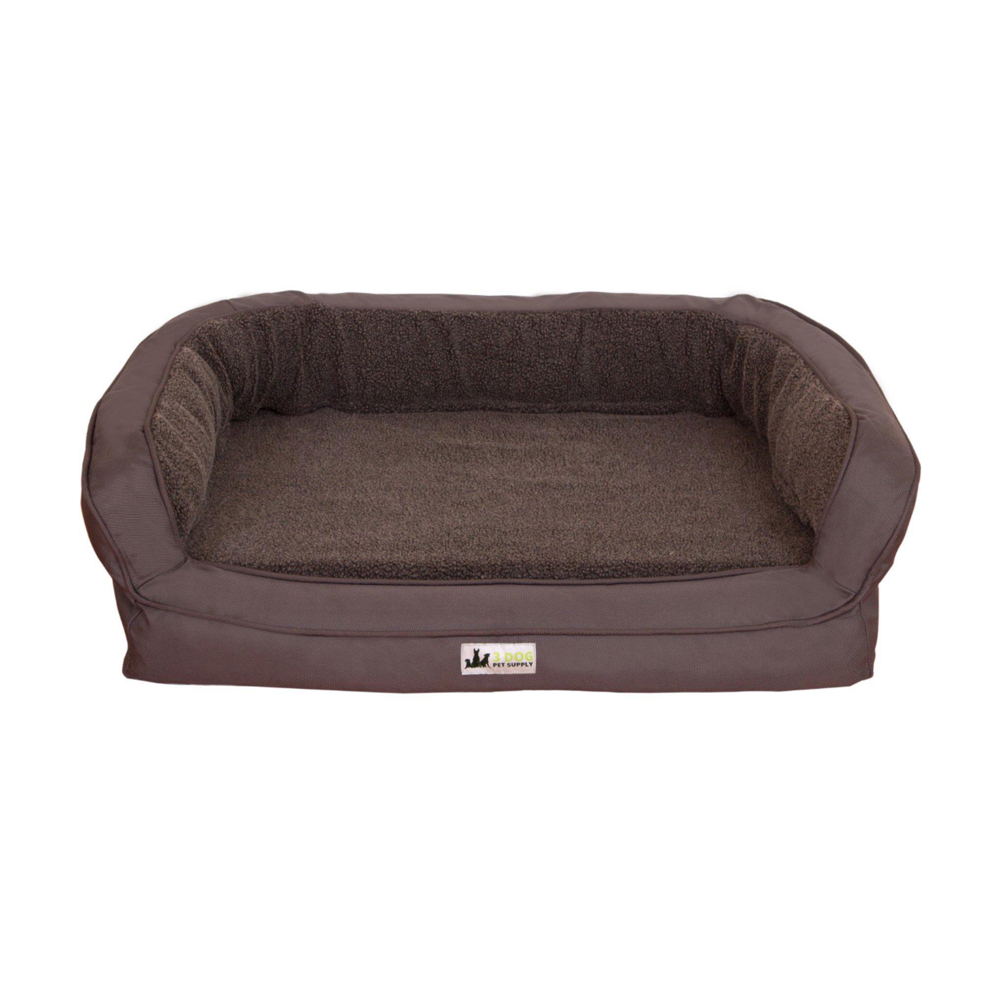 """3 Dog EZ Wash Memory Foam Fleece Bolster Dark Grey Dog Bed, 38"""" L X 26"""" W X 10"""" H, Medium"""