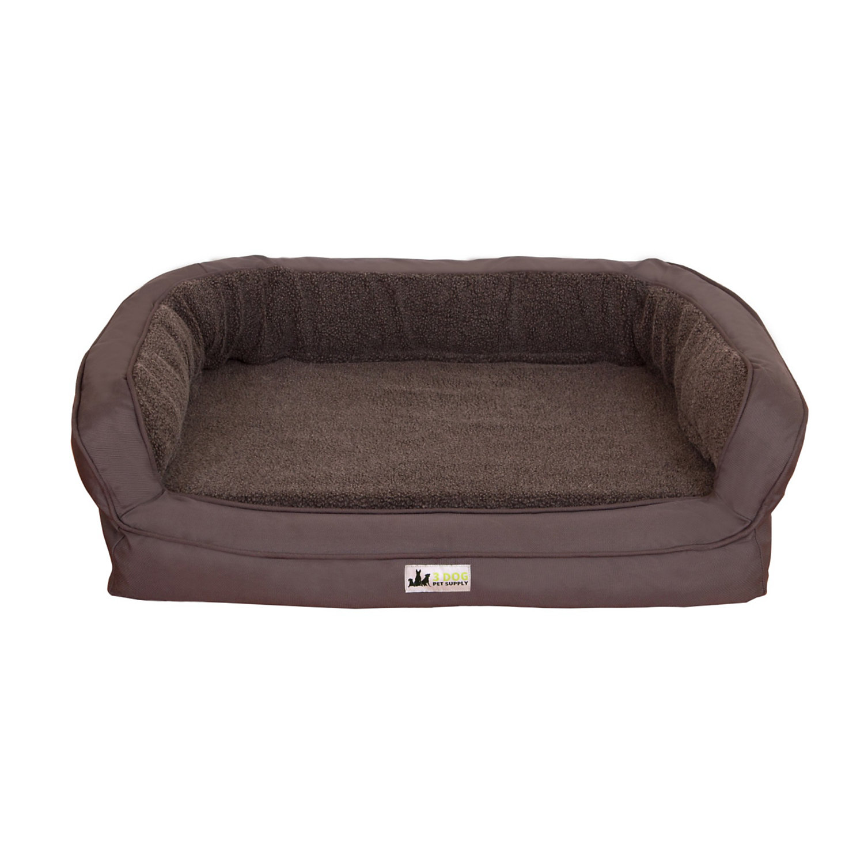 3 Dog EZ Wash Fleece Bolster Grey Dog Bed