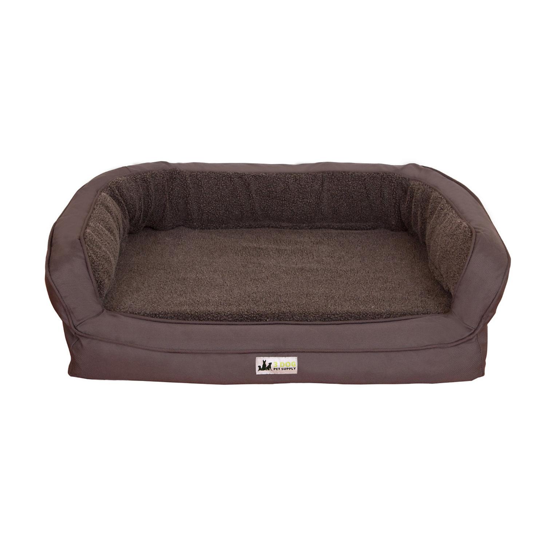 3 Dog EZ Wash Memory Foam Fleece Bolster Dark Grey Dog Bed