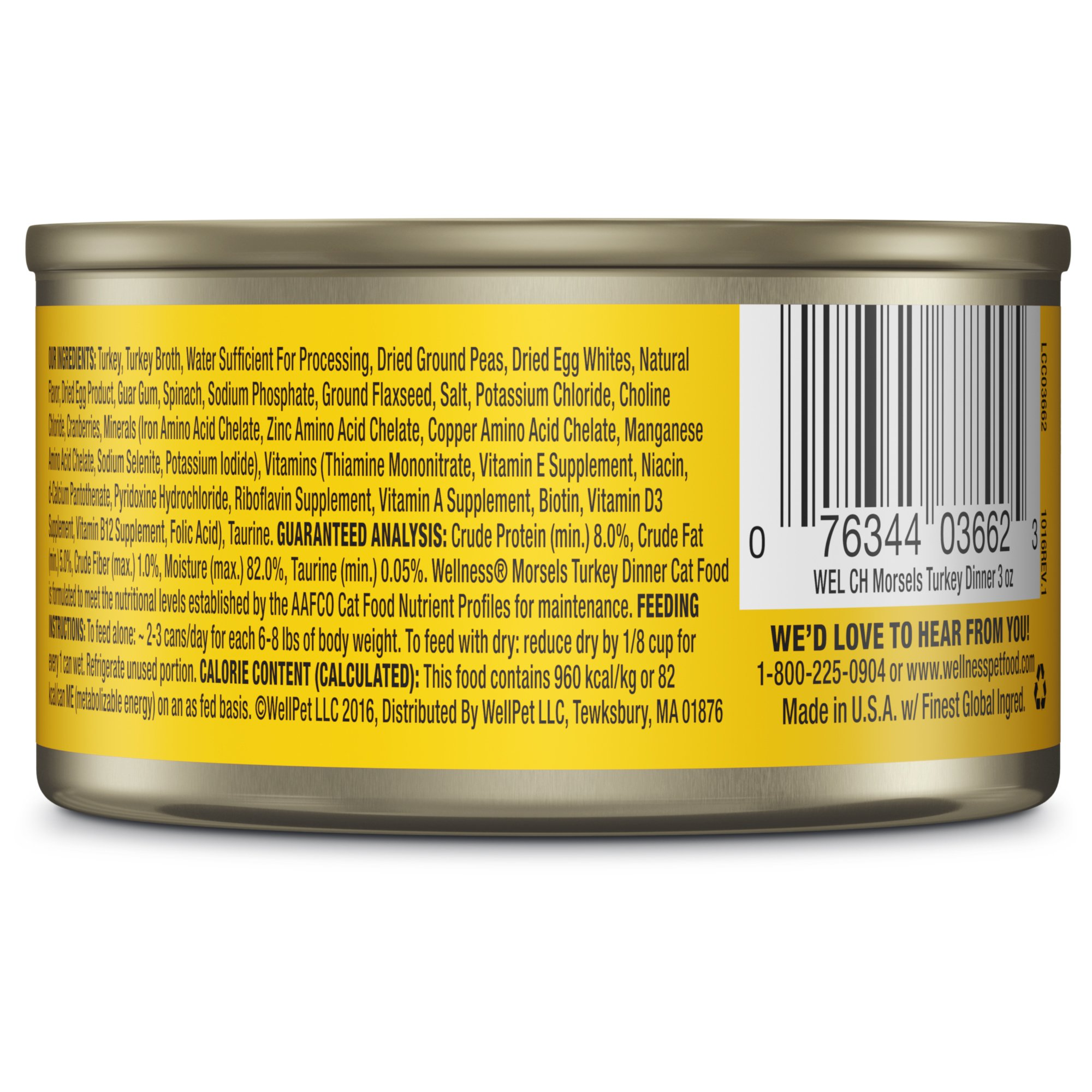 Wellness-Natural-Canned-Grain-Free-Morsels-Turkey-Dinner-Wet-Cat-Food thumbnail 3