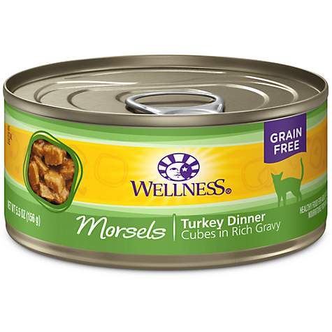 Wellness Natural Canned Grain Free Morsels Turkey Dinner Wet Cat Food