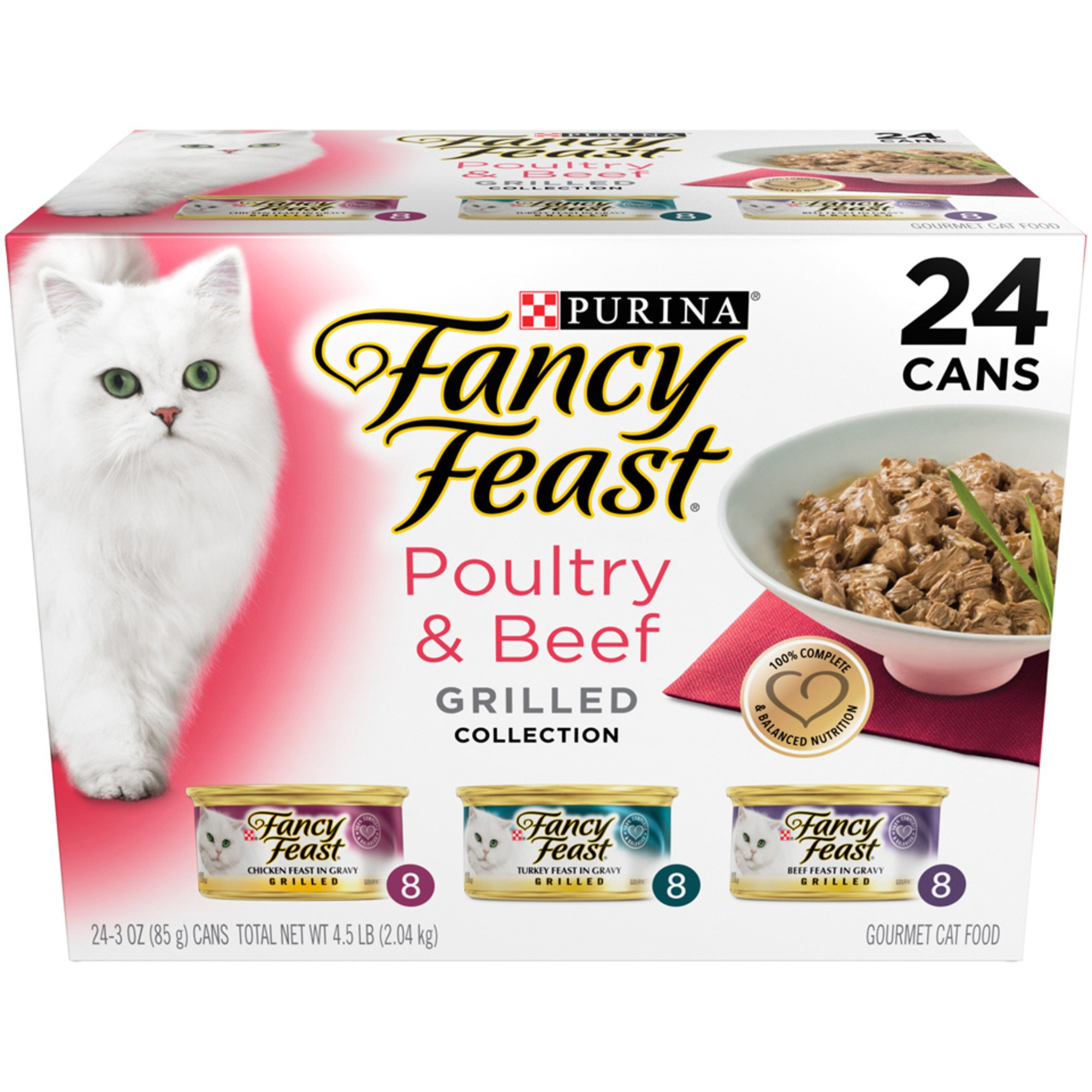 Purina Fancy Feast Grilled Poultry & Beef Collection Wet Cat Food Variety Pack, 3 oz., Pack of 24