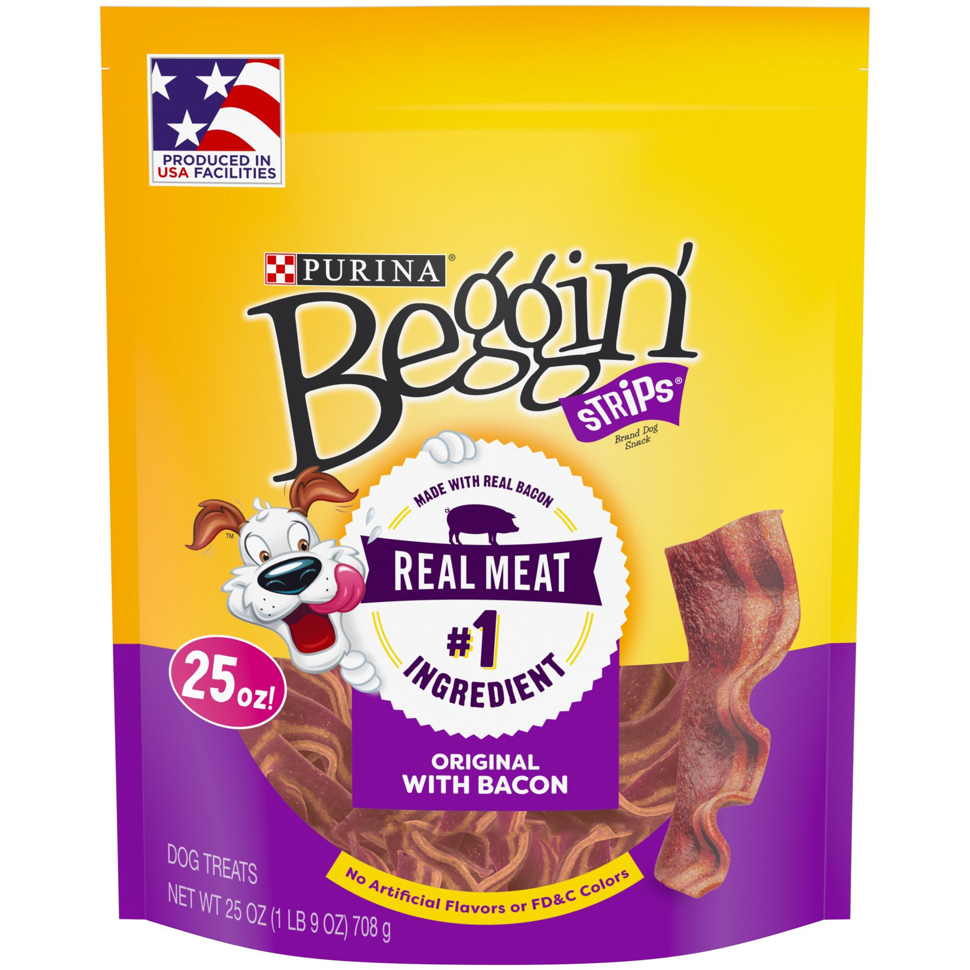 Purina Beggin' Strips Bacon Flavor Dog Treats, 25 oz., Pouch